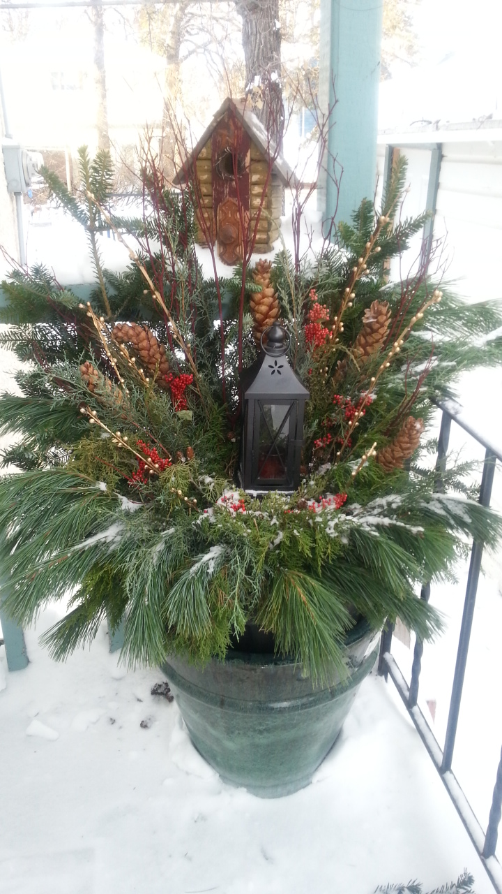 outdoor arrangement, front door decor, christmas container
