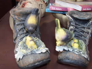 Shoe Planters with Birds - Jensen's Nursery and Garden Centre - Garden Center - Winnipeg - Manitoba