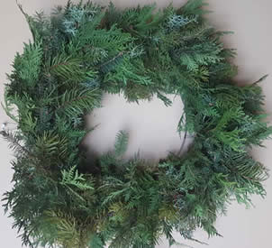 deluxe wreath greens, wreath class, wreath making class